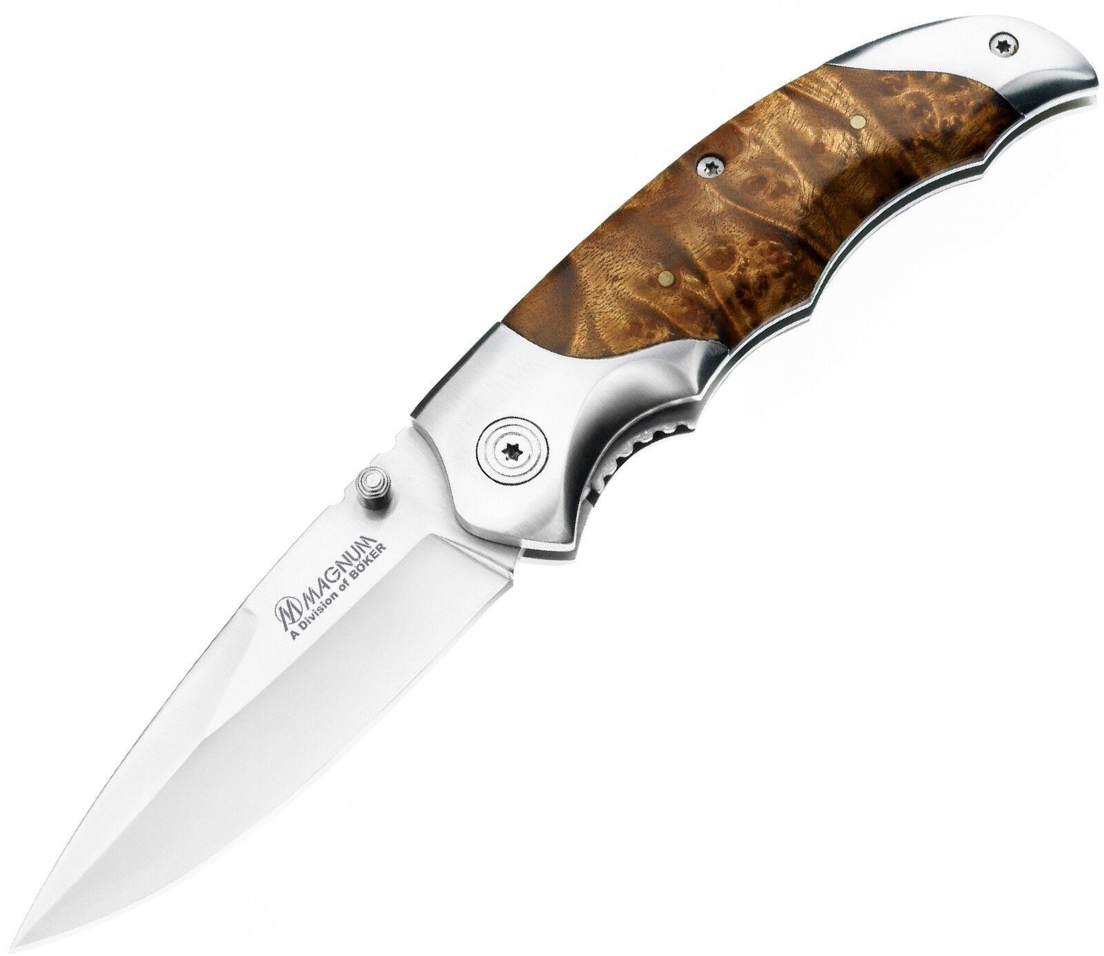 BÖKER  Taschenmesser Einhandmesser Messer Wurzelholz Edel Holz-Griff SB1009