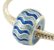 AUTHENTIC Sterling Silver Cloisonne Blue Bead For 3mm European Charm Bracelet