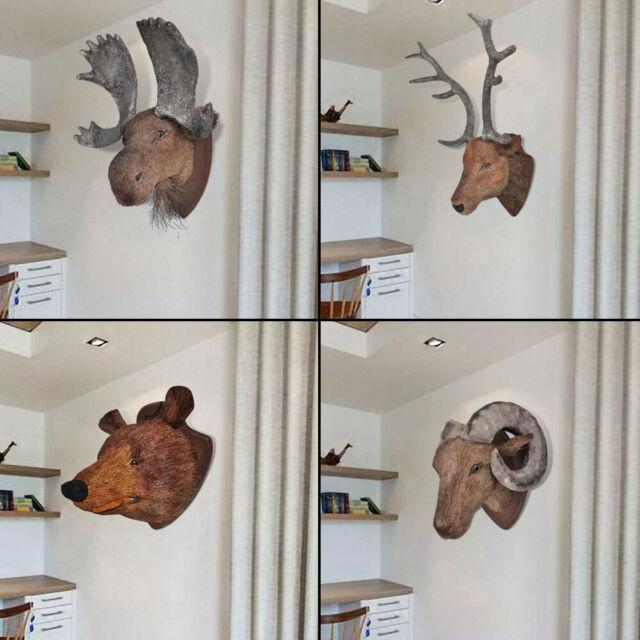 Wall Mounted Deer Moose Bear Ram Head Wall Hangings Decoration Home Decor