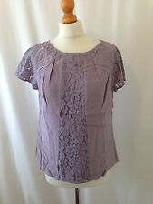 (140) Boden dusky lilac lace panel silky viscose Alana top blouse size UK 12