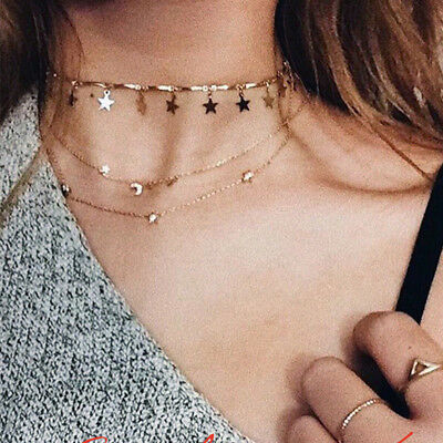 2019 Hot Gold//Silver Plated Sequins Long Tassel Star Choker Necklace for Women