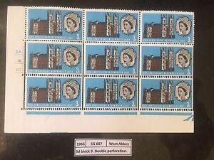 1966-SG-687-West-Abbey-3d-Error-Double-Perforation-UM-Mint