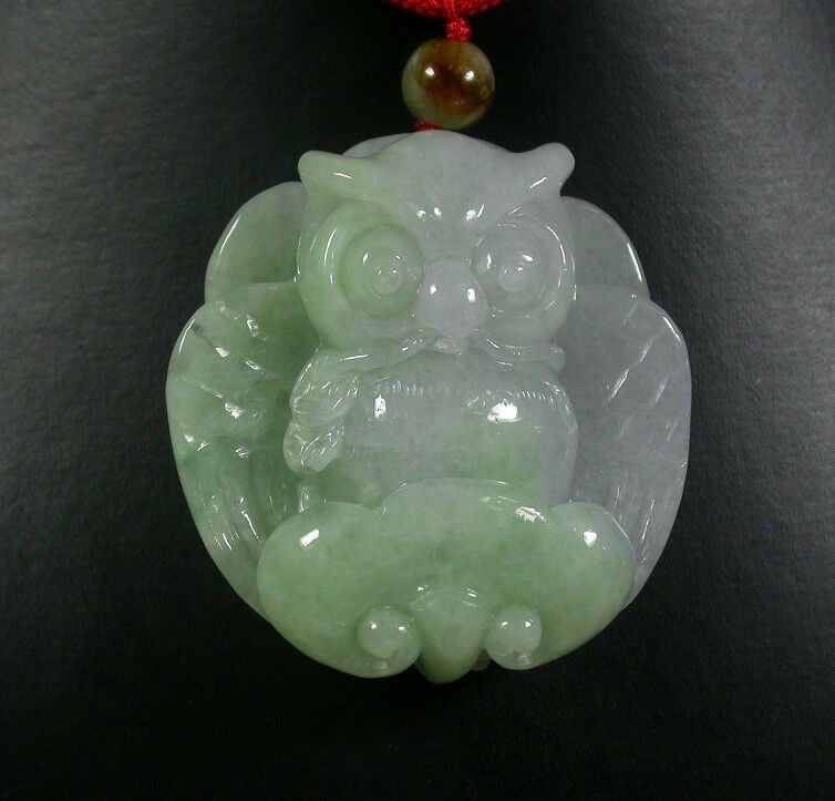Certified Green 100% Natural A Jade jadeite pendant Owl Eagle Lotus 371001