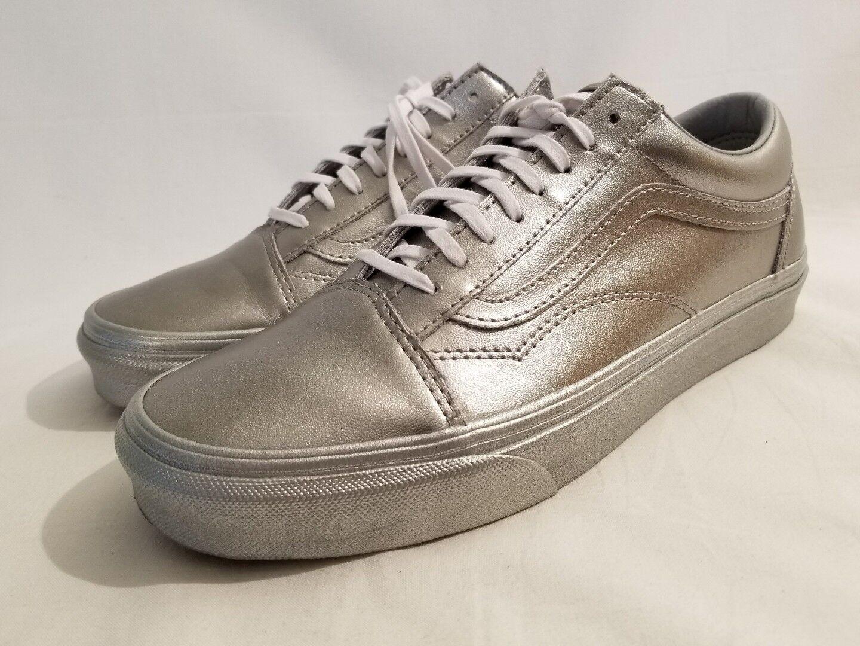 Vans Metallic Sidewall Silver Leather Old Skool Skate Shoe Womens Sz 6 7 8 8.5 9