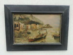 Fausto Pratella (Napoli, 1888 - 1946) olio su compensato Marina 40x25 cm