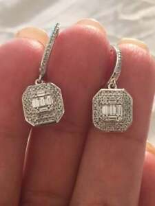 1-60Ct-Baguette-amp-Round-Cut-Diamond-Drop-Dangle-Earrings-14K-White-Gold-Finish