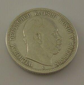 2 Mark Silber Silbermünze Wilhelm Deutscher Kaiser König V
