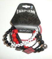 Harley Quinn Arm Party 5 Piece Bracelet Set Dc Comics Bioworld Cute