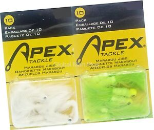 1-10-Pack-Marabou-Jig-Head-Fishing-Bait-Lure-Chartreuse-Tail-Skirt-Apex-Tackle