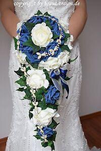 Excl Brautstrauss Wasserfall Rosen Creme Blau Zum Brautkleid