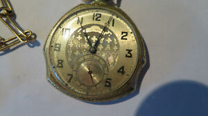 1920s 21J ILLINOIS 14k VINTAGE POCKET WATCH STERLING GF CHAIN FOB MOURNING HAIR