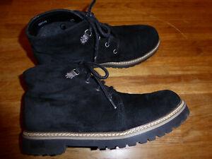 Details zu Alpenglühen Schuhe Trachten Schuhe Gr.40,5 Leder Wildleder Schwarz Boots