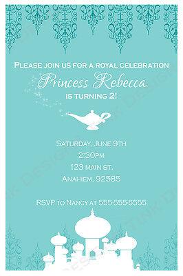 Princess Jasmine Aladdin Invitations Birthday party favors Arabian nights