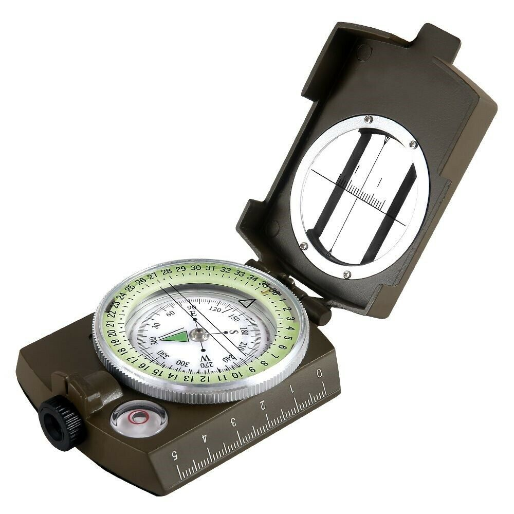 Geological Survival Compass Hiking Camping  Compact Scale Lensatic Equipment