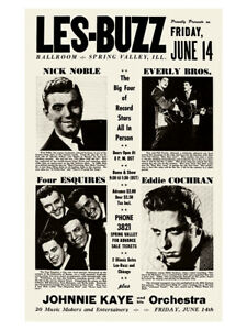 Fifties - Les-Buzz Ballroom poster - Everly Brothers - Eddie Cochran  (1957)