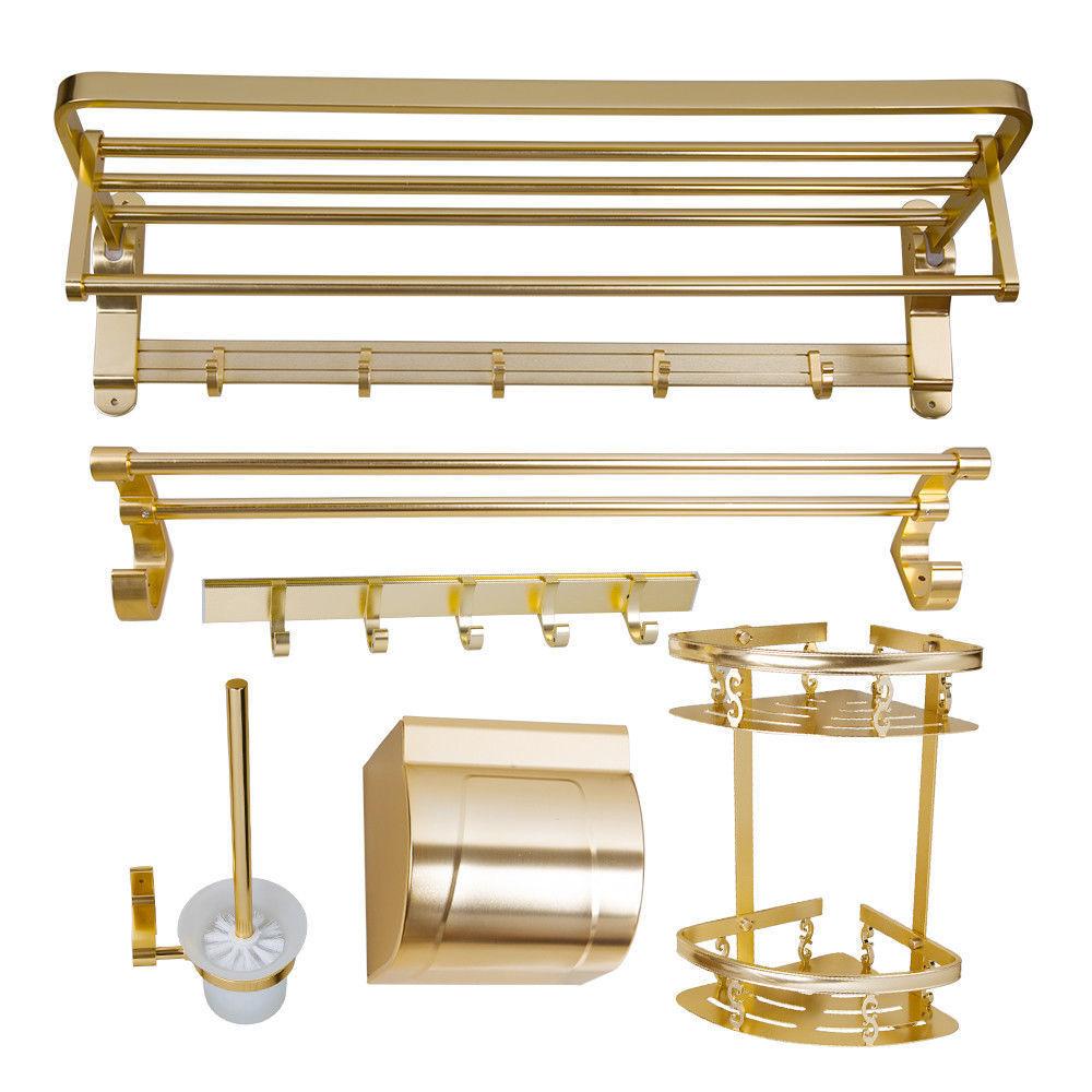 Gold Bathroom Accessory Sets Towel Paper Holder Hanger Space Aluminium