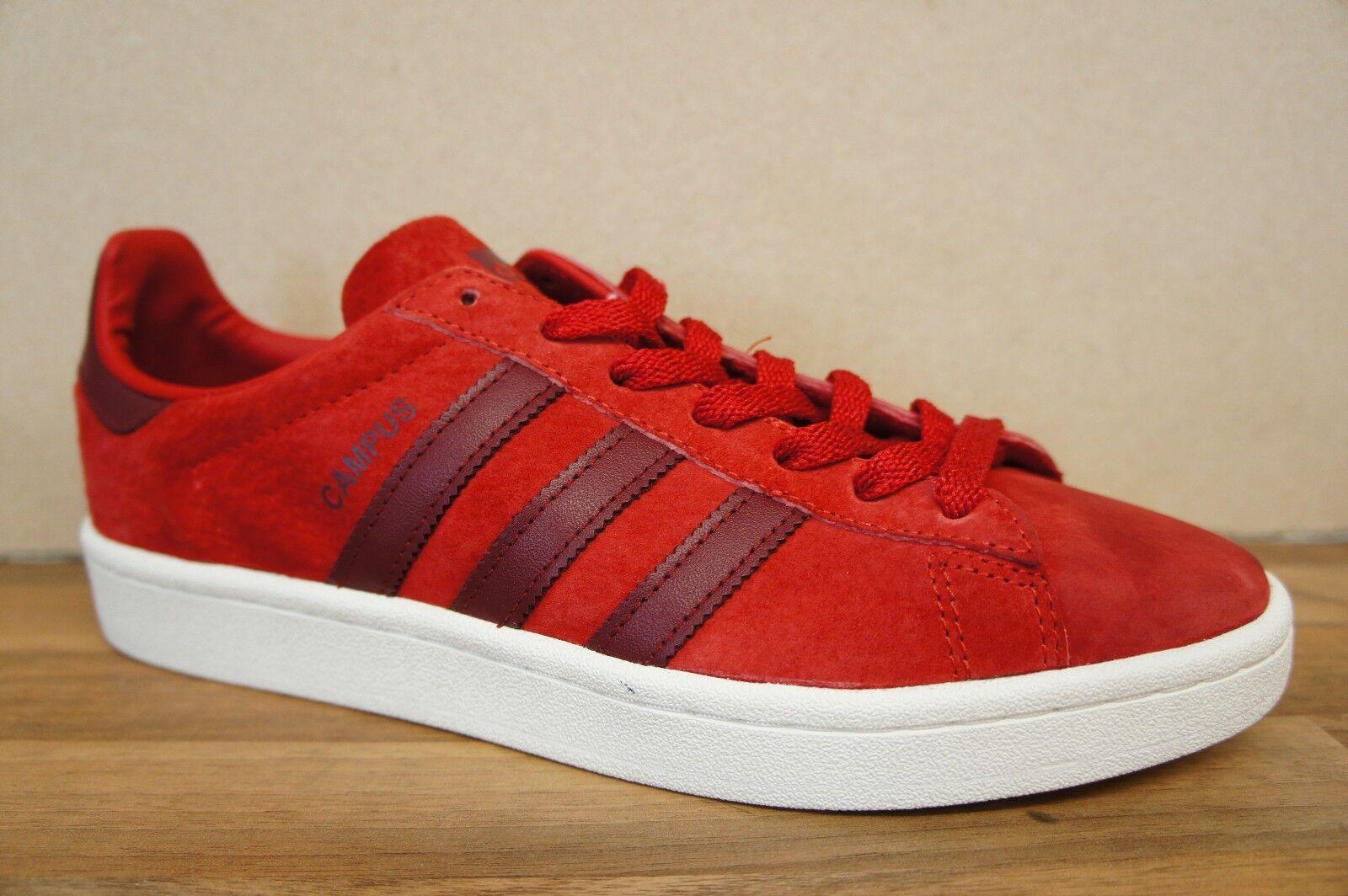 Adidas Taglia 7 Da Uomo Campus UK Rosso Bianco in Pelle Scamosciata Sautope Da Ginnastica BNWB Nuovo Sautope classeiche da uomo