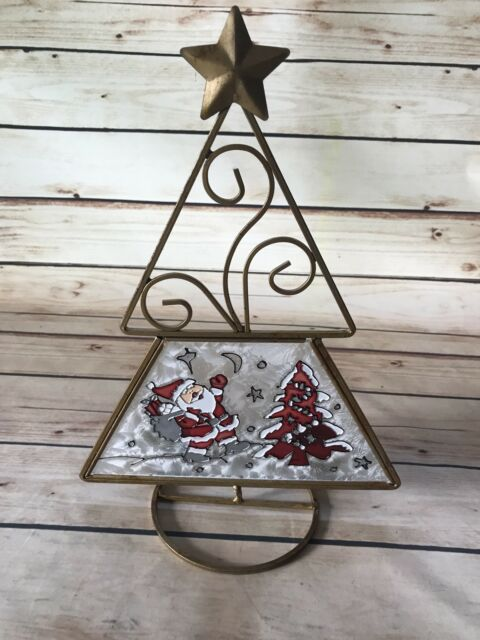stained glass santa tree snow star votive candle holder large christmas decor