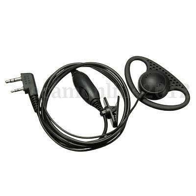 For Kenwood Baofeng Radio (2 pin) D Shape Earpiece Headset Earphone Microphone