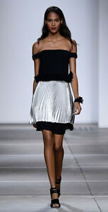 Topshop-by-Unique-Runway-Metallic-Pleated-Dress-UK-6-8-10-12-14-16-Party-Event