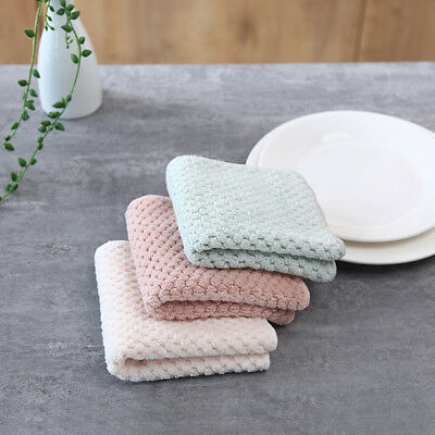 1 Pc Coral Fleece Absorbent Sink Wipe Non-stick Oil Cleaning Cloth Hand Towel