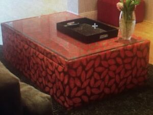 Details About Fabric Ottoman Gl Top Coffee Table Upholstered With 2 Storage Drawers