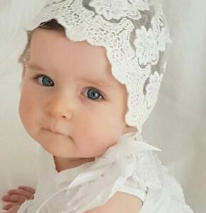 8ab073f6c Baby Shower Girls Christening bonnet Gorgeous Vintage Lace Bonnet ...