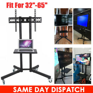 TV-Cart-Mobile-Free-Standing-Stand-with-Tray-Shelf-for-LCD-LED-Plasma-32-034-to-65-034