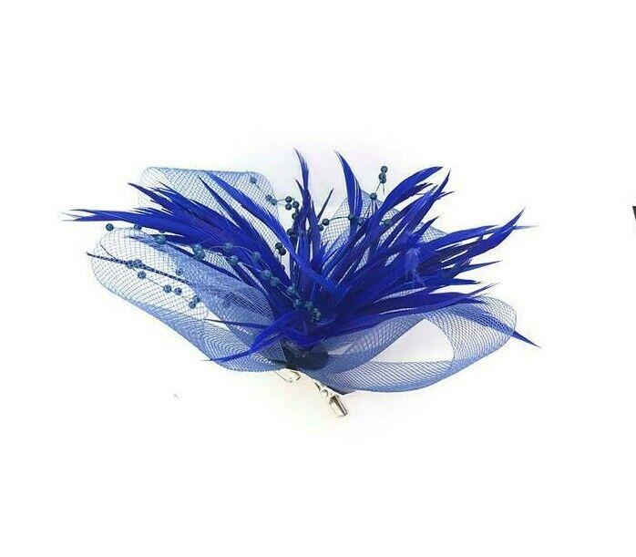 Royal Blue Clip Fascinator de la pluma Pico Damas día Accesorio Para El Cabello De Boda Ascot