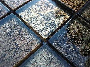 Mosaico in vetro effetto piastrelle trasparente metallo nero oro