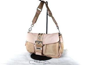 4caf9b3ebb18 Image is loading Authentic-PRADA-Leather-Nylon-Pink-Shoulder-Bag-PS13193L