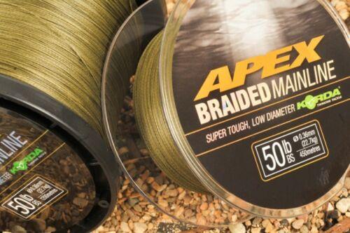 Korda nouveau apex braided mainline-pêche à la carpe ** tout breaking strains **