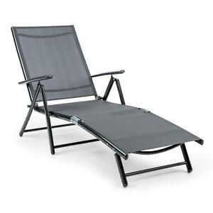 Détails sur [OCCASION] Chaise longue de jardin transat bain de soleil  dossier réglable alu /