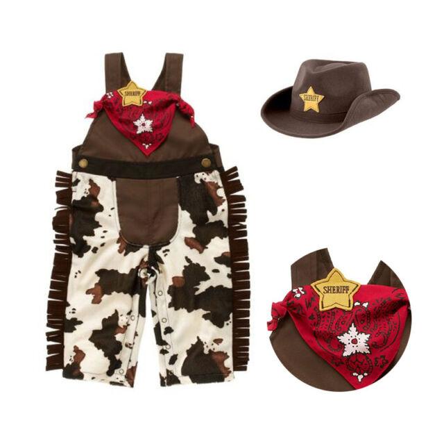 3pcs Baby Boy Kids Children Cowboy Hat+Bib+Pants Outfit Set Suit Clothes 6-24M