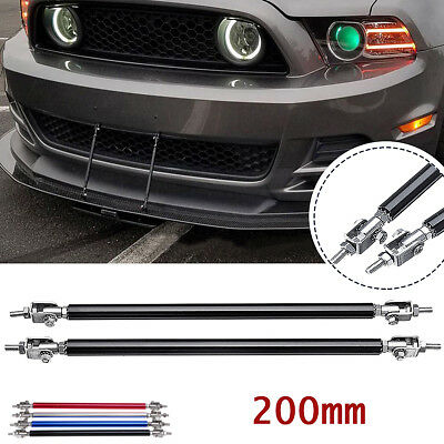 2x Adjustable Bumper Lip Splitter Strut Rod Tie Support Bars 150mm Silver