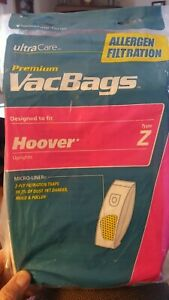 Open-Pack-New-ultra-care-vacbags-fits-hoover-uprights-Z-7-Bags-Left-Allergen
