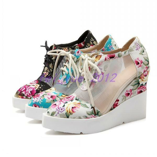 Womens Floral Prints Mesh Platform Wedge Heels Lace Up Punk Goth shoes Sneakers
