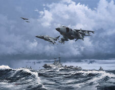 Sea Harrier Falklands War 1982 HMS Hermes Aircraft Plane Painting Art Print
