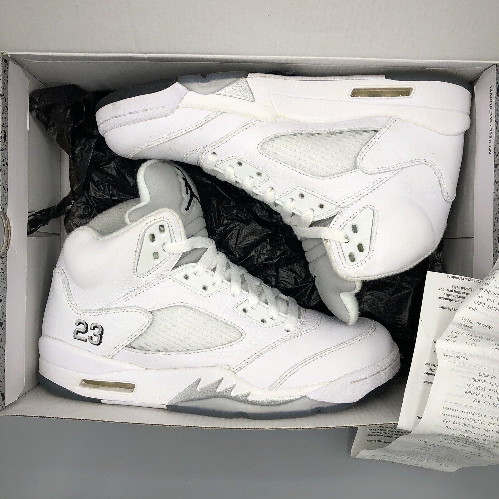 sports shoes f5b17 c1e93 Nike Air Jordan Retro Retro Retro V White Metallic Silver Size 7.5 136027  130 Black XI