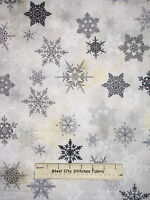 Christmas Snowflake Silver Gray Cotton Fabric Red Rooster Winter Celebration Yd