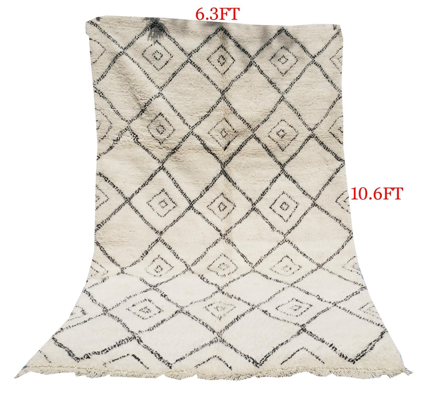 MGoldccan authentic Beni ourain knotted carpet Rug 100% Handmade 6.3ft 6.3ft 6.3ft x10.6ft e3a6f1