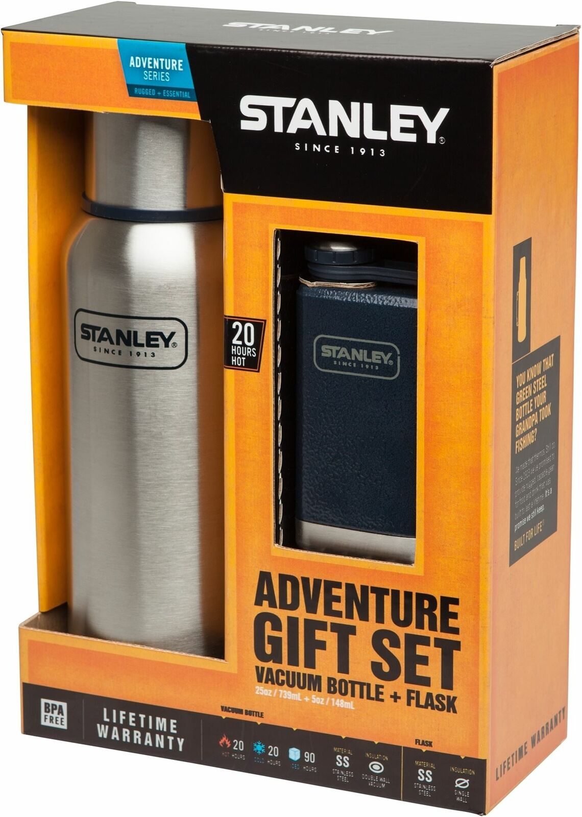 Stanley Classic Adventure Gift Set comes with Vacuum Bottle Stainles Steel Flask