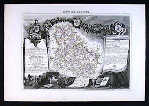 Vezelay France Map.1852 Levasseur Antique Map L Yonne Yonne Auxerre Avallon Sens