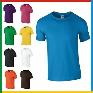 MENS-100-RINGSPUN-COTTON-T-SHIRT-GILDAN-Soft-Feel-PLAIN-T-SHIRT-Small-3XL