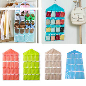 16 Pocket Closet Hanging Organizer Storage Door Wall Holder Sundries Stuff Bag