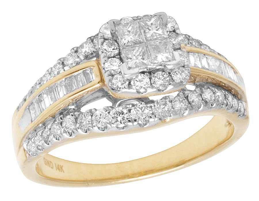 Ladies 14K Yellow gold Genuine Princess Baguette Diamond Engagement Ring 1CT 9MM