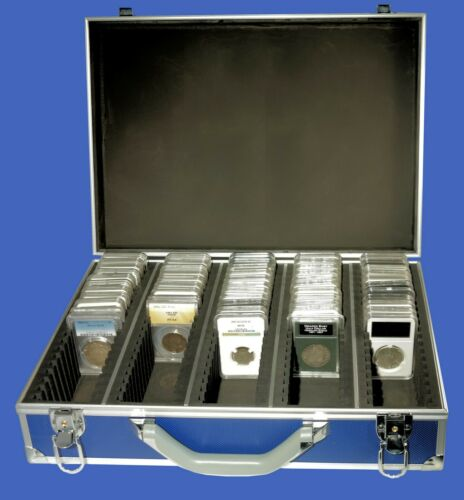 100 Graded Certified NGC//PCGS//Elite Coin Slab Aluminum Blue Storage Travel Box