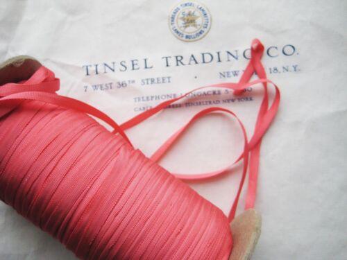 """10 Yards Vintage Tiny Rayon Coral Taffeta Ribbon Antique Doll 1//8/"""" Lampshade"""