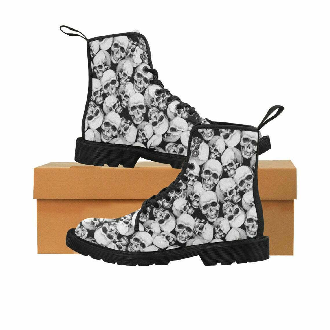 Men's Monochrome skull canvas combat boots, goth boots, punk boots, skull gifts
