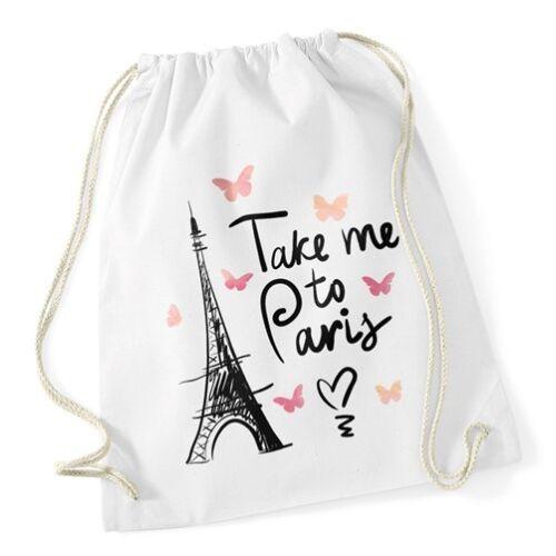 Turnbeutel Take me to Paris Eiffelturm Hipster Beutel Tasche Jutebeutel Gymsac